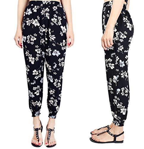 Sarouel Femme couleur Imprimé Années De Haute Décontracté Avec Taille 20 Sg Des Extensible Pantalon Noir Confortable BqICq