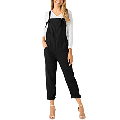 80e5c468ef33 Manxivoo Women Bib Overalls Loose Dungarees Jumpsuit Rompers Pants Trousers  With Front Pocket (Black