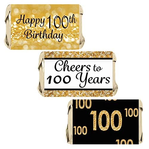 DISTINCTIVS Black and Gold 100th Birthday Party Mini Candy Bar Wrappers | 45 Stickers