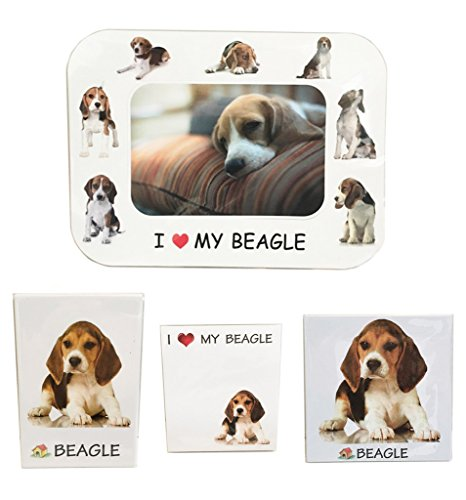 I Love My Beagle Magnet Set (2 Metal Magnets, 1 Photo Frame, 1 Memo Pad)