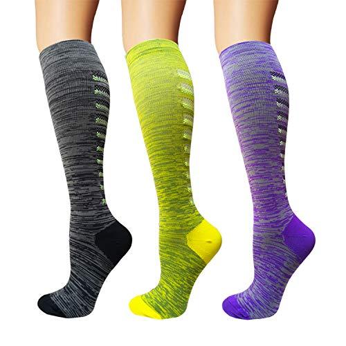 3/5 Pairs Compression Socks Women & Men – Best Medical,Nursing,Hiking,Travel & Flight Socks-Running & Fitness (B – Color 29, S/M)