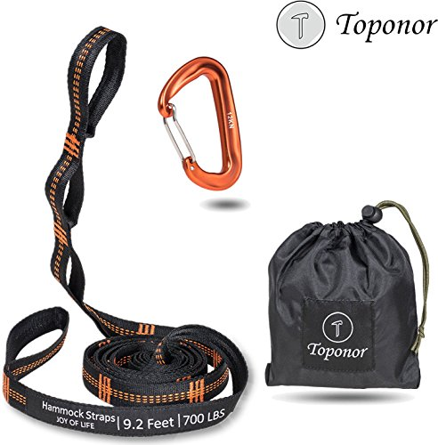 Hammock Tree Straps Set 9.2 Feet Long 16 Adjustable Loops 700 LBS Breaking Strength Tree webbing Heavy Duty 100% No Stretch Suspension Hanging Kit for Camping Hiking Backyard(12KN Carabiners Included) by TOPONOR