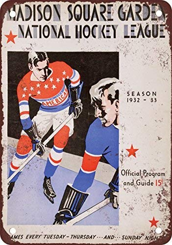 GMNJH 1932 New York Americans Hockey Vintage Look Reproduction Metal Tin Sign 8X12 Inches