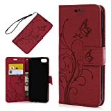 iPhone 8 Case, iPhone 7 Case Wallet, KASOS Embossed Flower Butterfly Pattern TPU Inner Shell Magnetic Front Closure PU Leather Case Wallet with Kickstand & Card Slots Bumper Cover - Red