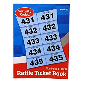 raffle tombola prize draw cloakroom ticket book 1 to 1000 security