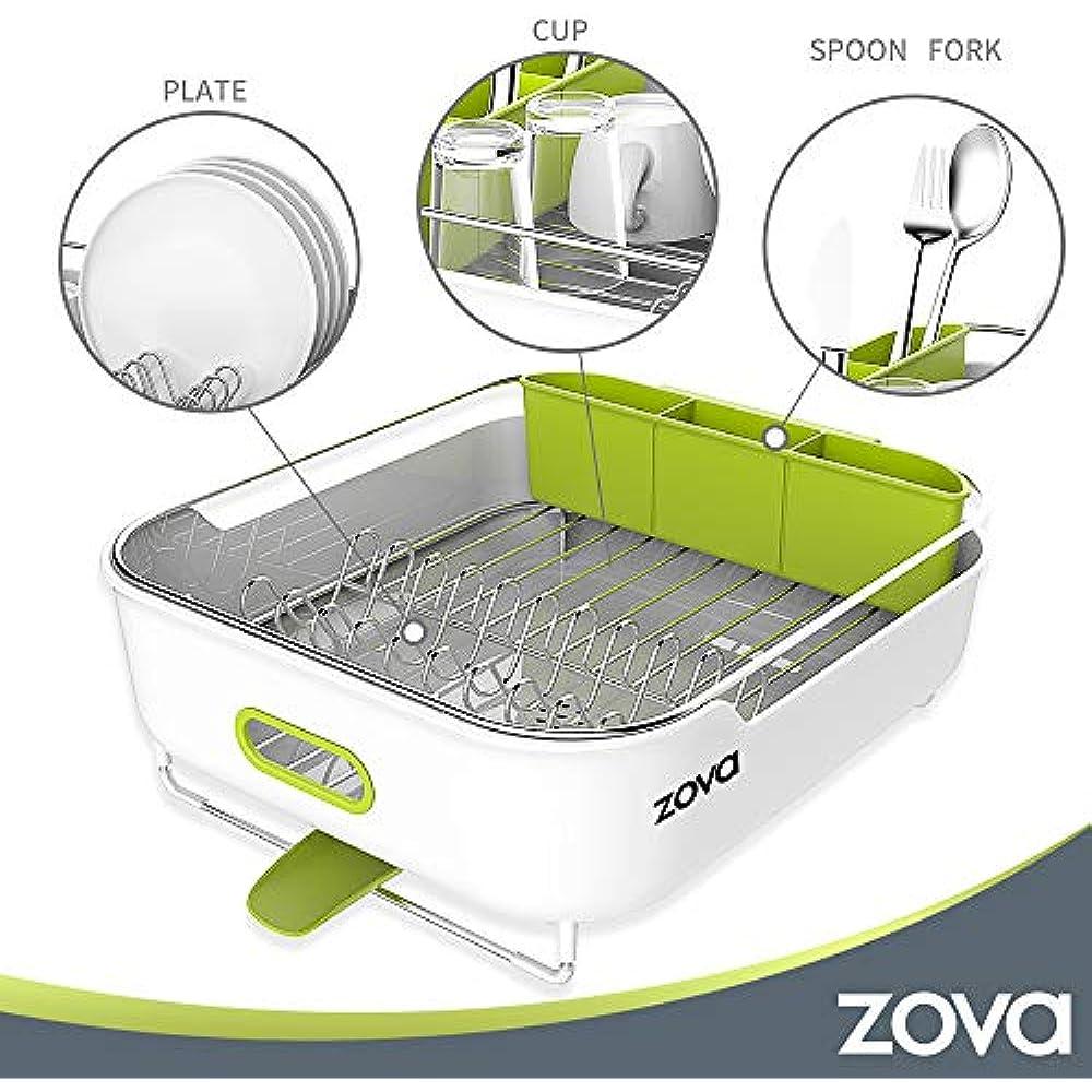 Dish Drainer Utensil Organizer for Kitchen zova Premium Stainless Steel Dish Drying Rack with Swivel Spout Medium White /&Green Ningbo Zova Home Living Co Ltd SF7023