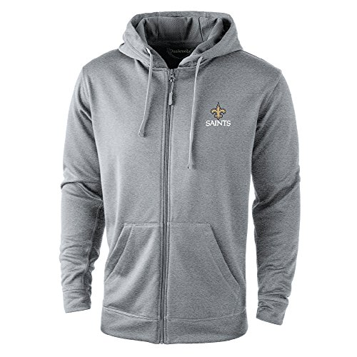 NFL New Orleans Saints Trophy Tech Fleece Full Zip Hoodie, Small, Grey