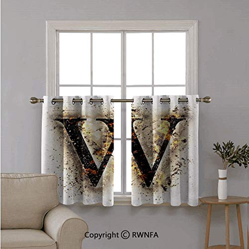 Custom Curtain Tiers for Bathroom Shades,W Symbol on Fire Scorched Blurry Background Heat Smoke,Curtains Half Window Treatments,42