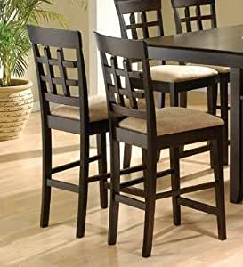 ... counter height chairs with upholstered seat and grid back: Kitchen