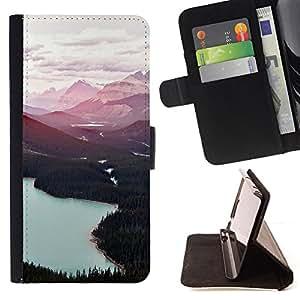 """For LG G4,S-type Forest Lakes Nubes Árboles"""" - Dibujo PU billetera de cuero Funda Case Caso de la piel de la bolsa protectora"""