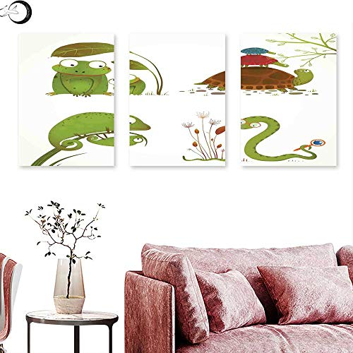 Tree Alpaca Sport Frog - J Chief Sky Reptiles Wall hangings Reptile Family with Colorful Baby Collection Snake Frog Ninja Turtles Love Mother Triptych Art Green Brown Red Triptych Art Canvas W 16