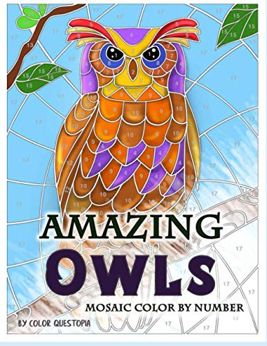 Amazing Owls Mosaic Color by Number: Adult Coloring Book For Stress Relief and Relaxation (Fun Adult Color By Number Coloring)