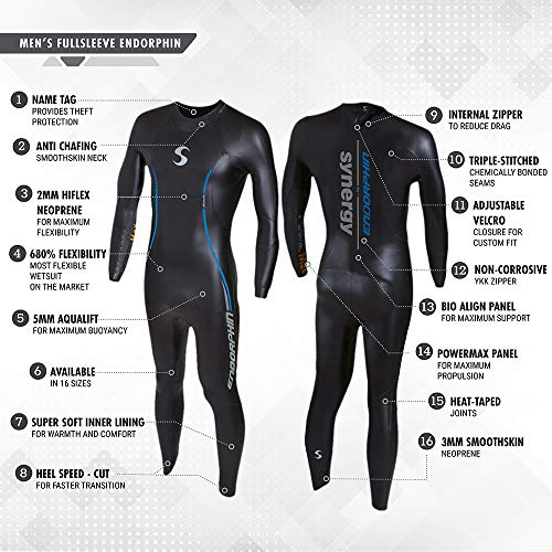 8d5686d3f11 Synergy Endorphin Men's Full Sleeve Triathlon Wetsuit (S3) by Synergy  (Image #2