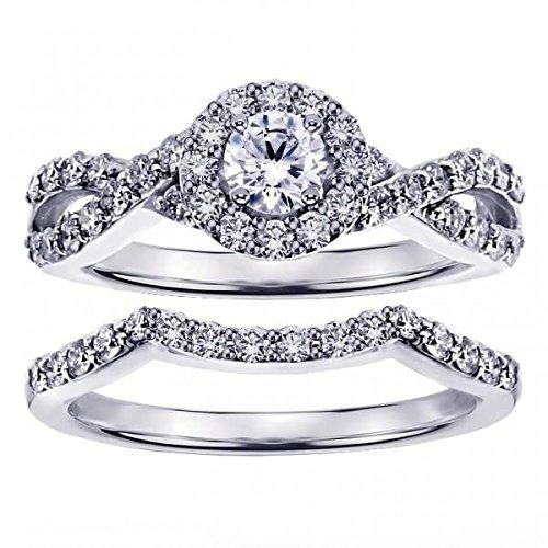 - VIP Jewelry Art 1.15 CT TW Braided Round Cut Diamond Engagement Wedding Band Set in 14k White Gold - Size 12