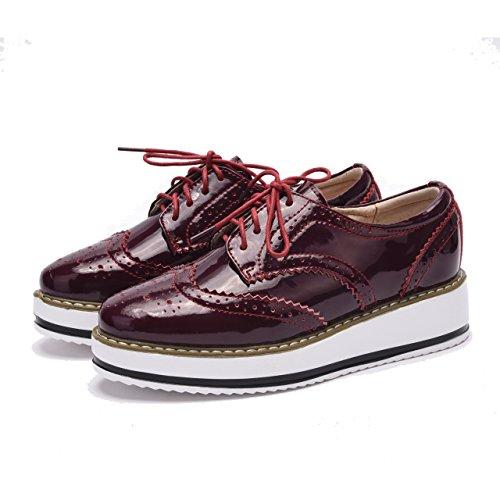 Moonwalker Zapatos con Cordones de Cuero Mujer Oxford Cuña (EUR 37,Rojo Brillante)