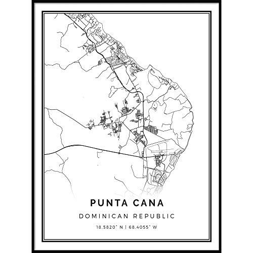 Squareious Punta Cana map Poster Print   Modern Black and White Wall Art   Scandinavian Home Decor   Dominican Republic City Prints Artwork   Fine Art Posters 18x24 (Best City In Dominican Republic)