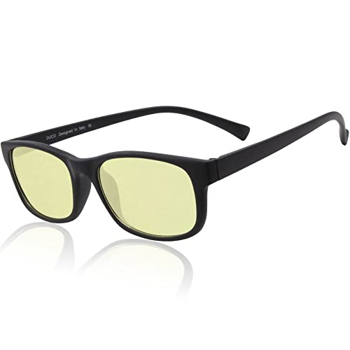 Duco Blue Light Blocking Gaming Glasses Ergonomic Advanced Computer Glasses Black Rimmed with Amber Lenses 8016