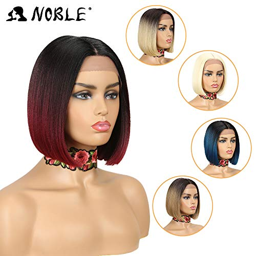 Lace Wigs for Black Women NOBLE Glueless Lace Front Wigs Red color BOB Wigs Synthetic Hair Replacement Wigs(10inches, TT1B/BUG)