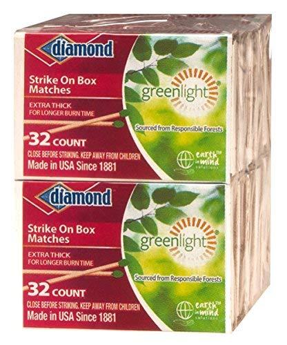 Match Kitchen - GreenLight Diamond Strike on Box Matches, 32 Count (Pack of 10)