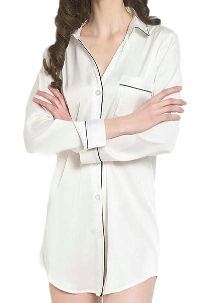 8e3ed1343ae Lutratocro Womens Summer Silk Faux Silk Sleep Long Sleeve Shirt Sleepwear  Thin Nightgowns at Amazon Women s Clothing store