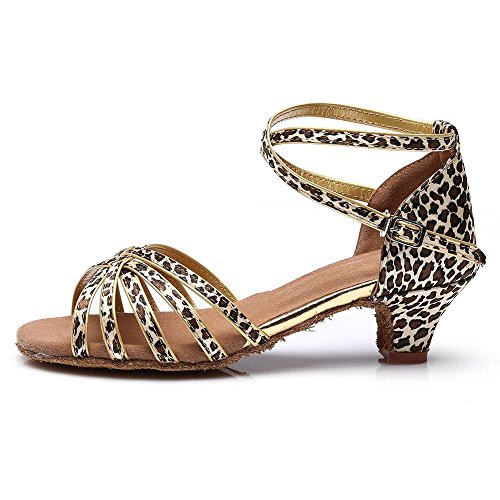 YFF Kinder Mädchen Ballsaal/Latin Dance Schuhe Professional Tango Salsa hochhackige Schuhe Frauen, Leopard1,9
