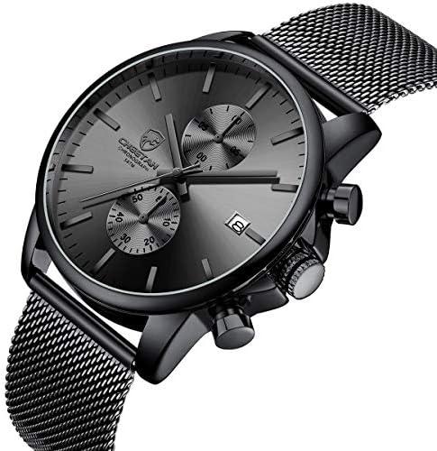 GOLDEN HOUR Mens Watch Fashion Sleek Minimalist Quartz Analog Mesh Stainless Steel Waterproof Chronograph Watches for Men with Auto Date WeeklyReviewer