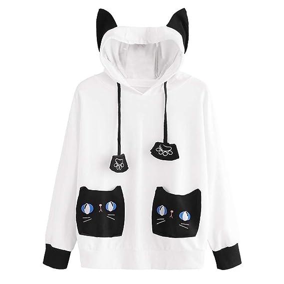 e1526e351368 Hoodies Damen Kolylong Frauen Elegant Katze Drucken Sweatshirt mit Kapuze  Mädchen Herbst Funny Hoodie Pullover Langarm Oversize Sweatjacke mit Tasche  ...