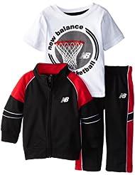 (新品)$13.99,New Balance Three-Piece Track新百伦红黑色夹克+短袖+长裤