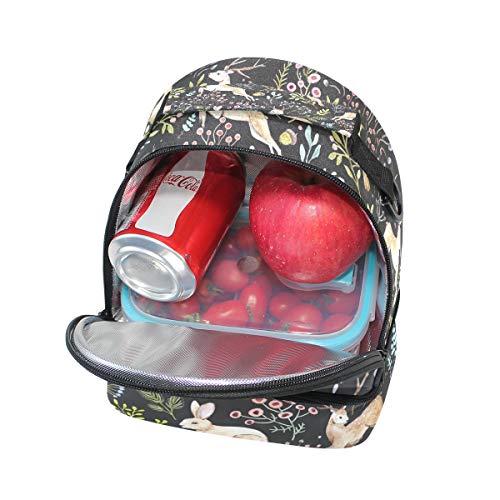 con y Bolso diseño de ajustable ciervo de doble correa picnic almuerzo para 00aTxA