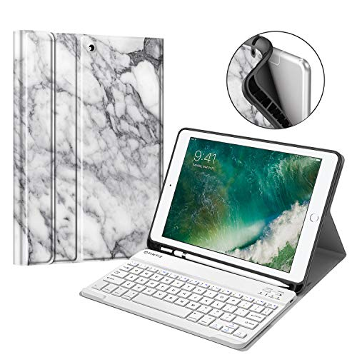 Fintie iPad 9.7 2018 Keyboard Case with Built-in Pencil Holder, [SlimShell] Soft TPU Back Protective Cover w/Magnetically Detachable Wireless Bluetooth Keyboard for Apple iPad 6th Gen, Marble White (Keyboard Case White Ipad)