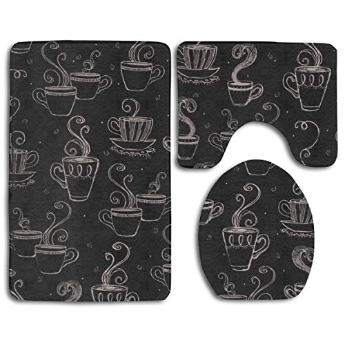 HDISJHF Non-Slip Absorbent Super Cozy Flannel Bathroom Rug Carpet Toilet Seat Cover and Rug with Steaming Beverage Coffee Tea Cups Mug Pattern