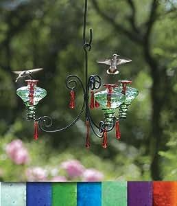 Parasol CH3AQ-B Aqua Hand Blown Glass Hummingbird Feeder 3 Port Chandelier