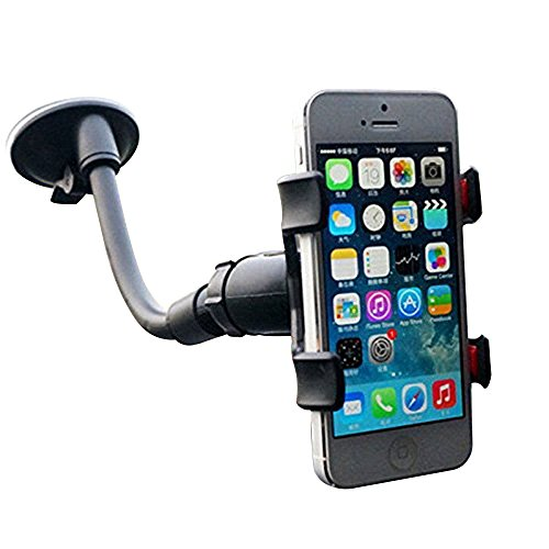 Price comparison product image EAGWELL Universal 360 Degree Rotating Flexible Double Clip Car Windshield Mount Holder Stand Bracket for 3.2 to 6-Inch Smartphone - Black