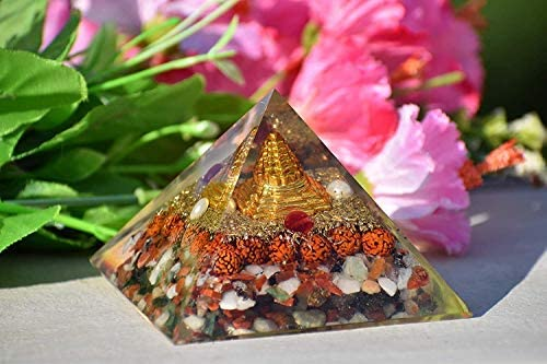 Energy Generator Shri Yantra Orgone Feng Shui Orgonite Pyramid for Ultimate EMF Protection and Spiritual Healing Wealth Attraction