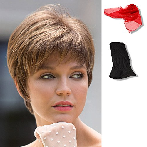 Bundle - 3 items: Sally by Noriko, Chiffon Scarf, Black Wig Cap Liner, Color Chosen: Frosti Blond