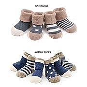 Cuca Dunna Infant Socks Baby Socks Toddler Socks For Girls And Boys,Cute socks 4 Pairs (M 1-3years, Blue)