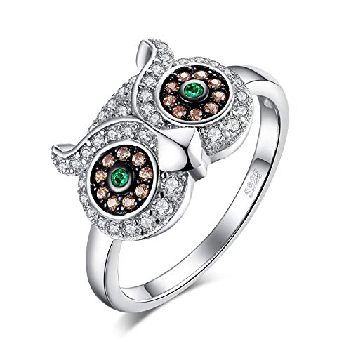 (JewelryPalace Nano Russian Simulated Emerald Cubic Zirconia Owl Ring 925 Sterling Silver size 8)