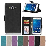 G530 Flip Case, Galaxy Grand Prime case, Samsung Galaxy Grand Prime Case Cover,YiLin PU Leather Flip Folio Wallet Case Cover for Samsung Galaxy Grand Prime - BLACK