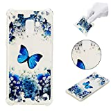 Galaxy A8 Plus 2018 Clear Case,Galaxy A8 Plus 2018 Floral Silicone Case,Leeook Pretty Elegant Colorful Painted Blue Butterfly White Flower Pattern Crystal Clear Transparent Slim Fit Ultrathin Soft Gel Flexible Silicone Scratch-resistant Drop Protection Bumper Tpu Back Case Cover for Samsung Galaxy A8 Plus 2018 + 1 x Free Black Stylus-Blue Butterfly