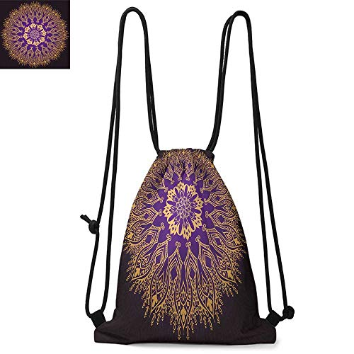 - Mandala Made of polyester fabric Round Bohemian Arabesque Motif Leaves Figure Folkloric Ethnic Print Waterproof drawstring backpack W13.4 x L8.3 Inch Violet Purple and Yellow