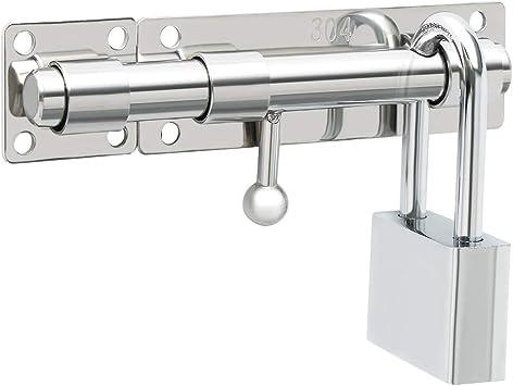Sayayo Puerta corredera Perno de seguridad Cerradura de puerta con orificio para candado Longitud 150 mm, acero inoxidable macizo Acabado cromado (no incluye candado), EMS8000: Amazon.es: Bricolaje y herramientas