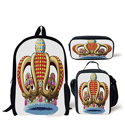 iPrint School Lunch Pen,King,Royal Family Nobility Crown with Colorful Ornaments Image for Sovereign Print Decorative,Red Blue and Golden,Bags