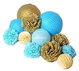 Paper Jazz 12pcs paper pom pom lantern honeycomb ball for wedding birthday baby shower graduation meeting event party decoration (BLUE GOLD)