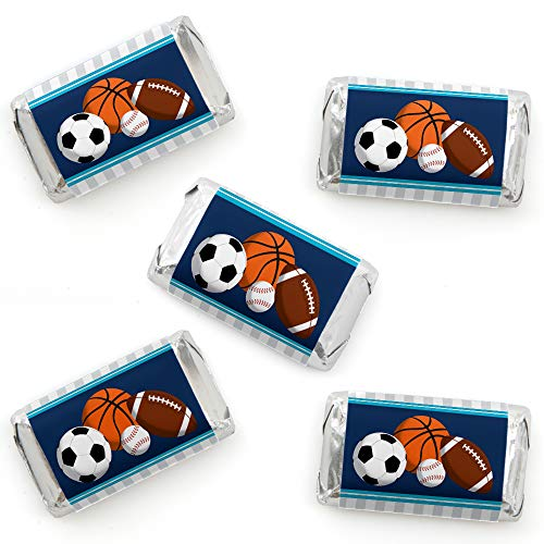 Go, Fight, Win - Sports - Mini Candy Bar Wrapper Stickers - Baby Shower or Birthday Party Small Favors - 40 -