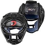DEFY Head Guard Premium Synthetic Leather MMA Boxing Head Gear UFC Wrestling Helmet Fighting Sparring (Black, Medium)