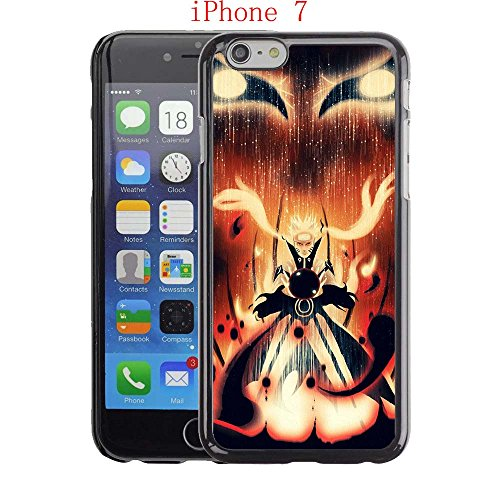 iPhone 7 Case, Nine Tails Naruto Drop Protection Never Fade Anti Slip Scratchproof Black Hard Plastic Case (Nine Tail Contacts)