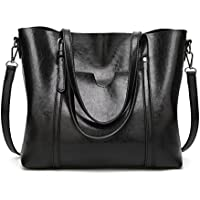 Pahajim women leather top handle handbags satchel Purse shoulder bag Tote Bag