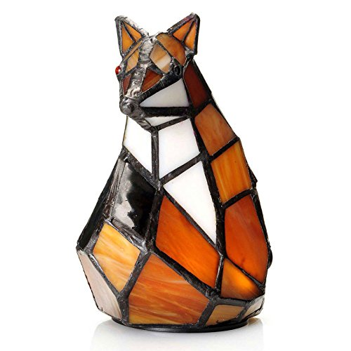 Tiffany Style Fox Glass Memory Lamp - Orange Lamps for Bedrooms - Engraving Sold Separately