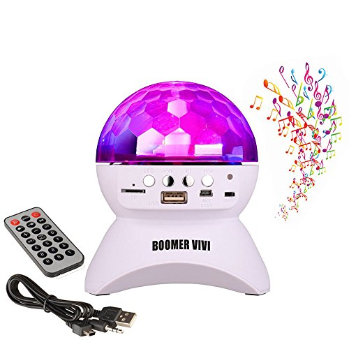 BOOMER VIVI Disco DJ Bluetooth Speakers Rotating LED Strobe Bulb 6 Changing Multi-Color Crystal Stage Light, Bluetooth Wireless Speaker For Party Dance, Ball, halloween, Birthday, Christmas (White)
