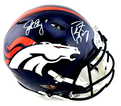 John Elway and Peyton Manning Autographed/Signed Denver Broncos Riddell Authentic Speed NFL Helmet